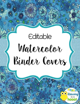 Editable Binder Covers Floral Watercolor By Sunshine