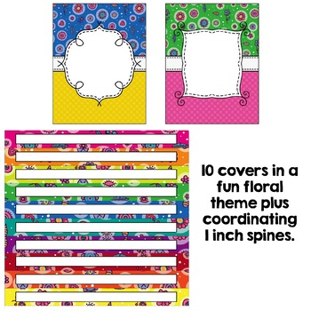 Editable Binder Covers - Fun Florals