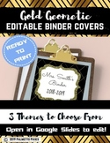 Editable Binder Covers { Gold Geometric } with Editable Spines