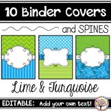 Editable Binder Covers - Lime & Turquoise