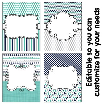 Editable Binder Covers - Navy, Teal, & Gray