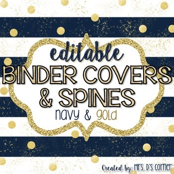 32 Editable Binder Covers { Navy and Gold } with 120 Editable Spines