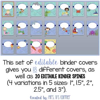 Editable Binder Covers ( Ocean ) with Editable Spines