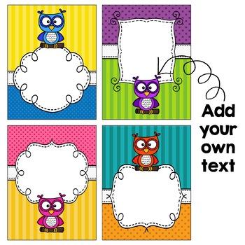 Editable Binder Covers - Owls