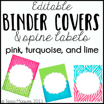 Editable Binder Covers: Pink, Lime, & Turquoise