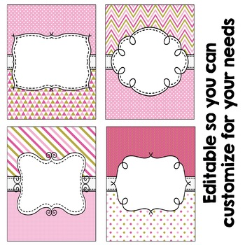 Editable Binder Covers - Pink and Gold