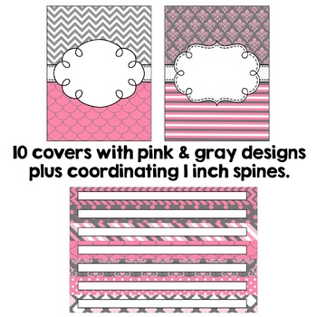 Editable Binder Covers - Pink and Gray