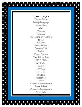 Editable Binder Covers - Polka Dot