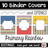 Editable Binder Covers - Primary Rainbow