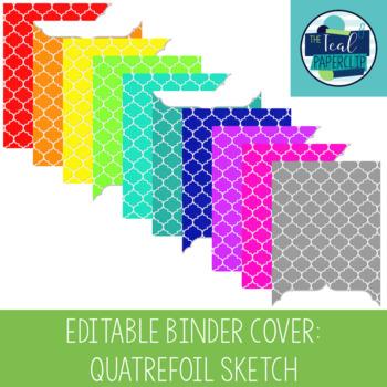 Editable Binder Covers: Quatrefoil Sketch