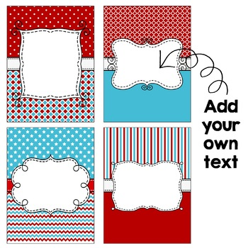 Editable Binder Covers - Red & Turquoise