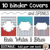 Editable Binder Covers - Reds, Whites, & Blues