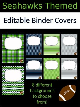 Editable Binder Covers - Seahawk Themed