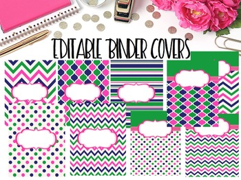 Editable Binder Covers- Set of 11 Hot Pink and Green Preppy