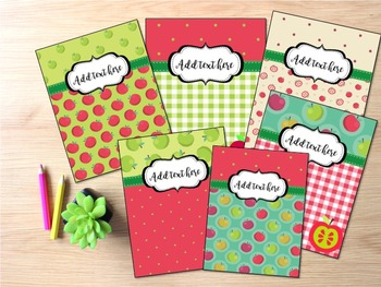 Editable Binder Covers- Set of 6 Apple Themed