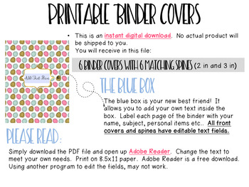 Editable Binder Covers- Set of 6 Green and Pink Design with Matching Spines