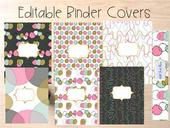Editable Binder Covers- Set of 6 Green and Pink Design wit