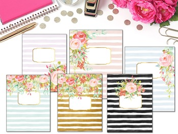 Editable Binder Covers- Set of 6 Painted Striped Floral