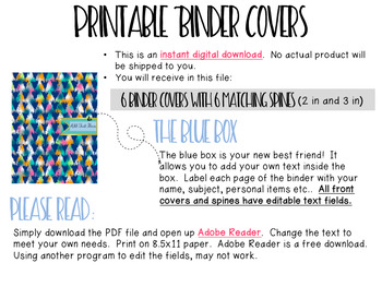 Editable Binder Covers- Set of 6 Pink and Blue Design with Matching Spines