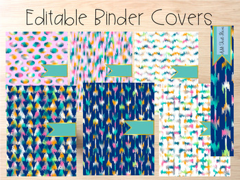 Editable Binder Covers- Set of 6 Pink and Blue Design with
