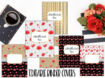 Editable Binder Covers- Set of 6 Red Poppy