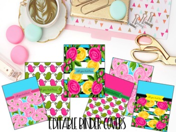 Editable Binder Covers- Set of 6 Tickled Pink