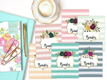Editable Binder Covers- Set of 6 Watercolor Striped Floral