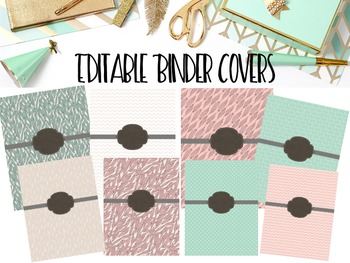 Editable Binder Covers- Set of 8 Pink and Mint with Feathers