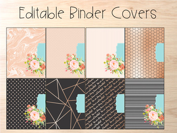 Editable Binder Covers- Set of 8 Rose Gold with matching spines