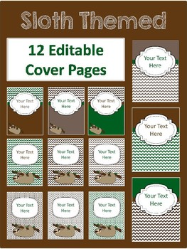 Editable Binder Covers - Sloth Themed