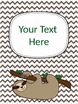 Editable Binder Covers - Sloth Themed