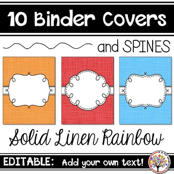 Editable Binder Covers - Solid Linen Rainbow