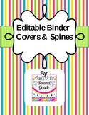 Editable Binder Covers & Spines---Bright Stripes and polka dots