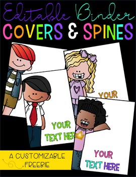 Editable Binder Covers & Spines Freebie Set of Four