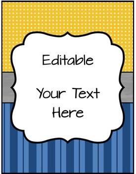Editable Binder Covers, Spines & Labels - Blue & Mustard