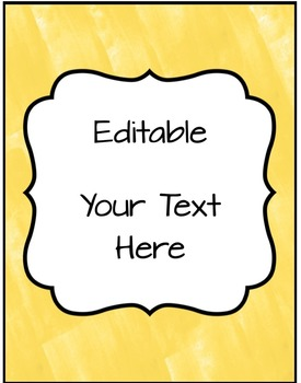 Editable Binder Covers, Spines & Labels - Sunny Yellow