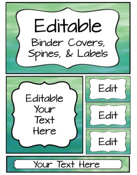 editable binder covers spines labels watercolor by sharon oliver