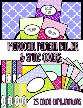 Binder Covers & Spines - Editable - Moroccan Pattern