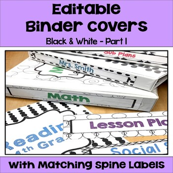 Editable Binder Covers and Spines in Black and White Part 1