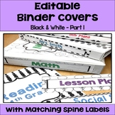 Editable Binder Covers and Spines in Black and White