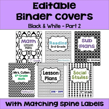 Editable Binder Covers and Spines in Black and White Part 2