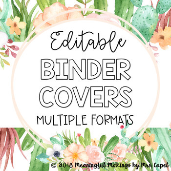 Editable Binder Covers; Succulent Floral Theme, Multiple Formats