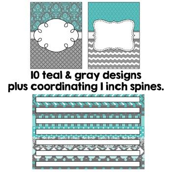 Editable Binder Covers - Teal and Gray