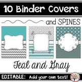 Editable Binder Covers - Teal and Gray