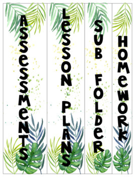 Editable Binder Covers -Tropical Palms
