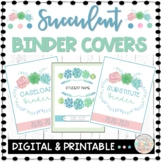 Editable Binder Covers and Binder Spines Watercolor Succulent Theme