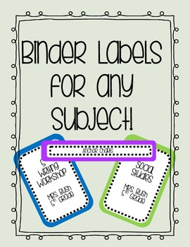 Editable Binder Covers and Labels - VERY COOL!
