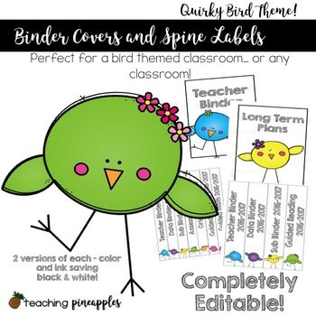 Editable Binder Covers and Spine Labels - Quirky Birds Theme!