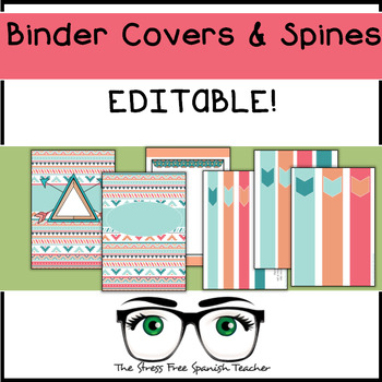 Editable Binder Covers and Spines, Boho Style
