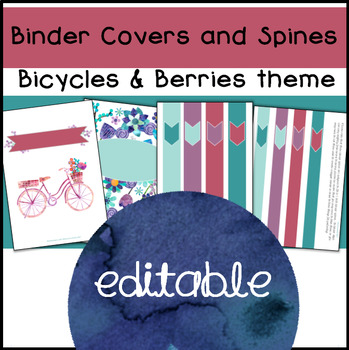 Editable Binder Covers and Spines, Bicycles & Berries (color scheme)